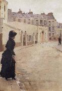 Beraud, Jean Waiting,Paris,Rue de Chateaubriand oil painting reproduction